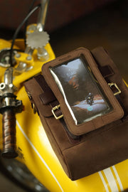 Trip Machine Company Leather Motorcycle Phone Pouch Tobacco - Moto Est. 3