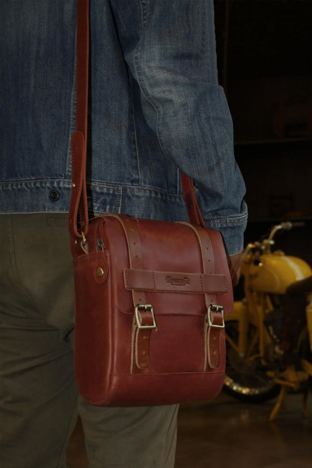 Trip Machine Company Tank & Tail Cherry Red Leather Motorcycle Bag - Moto Est. 4