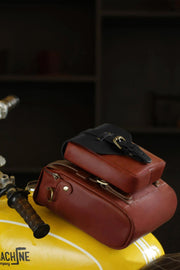 Trip Machine Company Tank & Tail Cherry Red Leather Motorcycle Bag - Moto Est. 6
