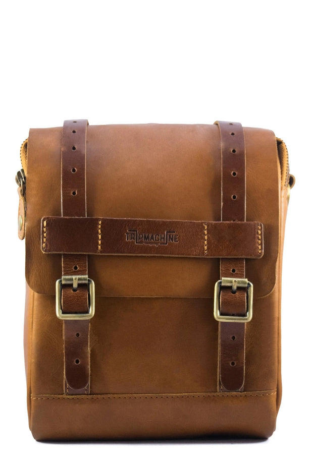 Trip Machine Company Tank & Tail Tan Leather Motorcycle Bag - Moto Est. 1