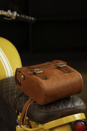 Trip Machine Company Tank & Tail Tan Leather Motorcycle Bag - Moto Est. 3