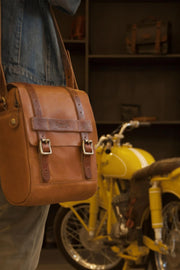 Trip Machine Company Tank & Tail Tan Leather Motorcycle Bag - Moto Est. 4
