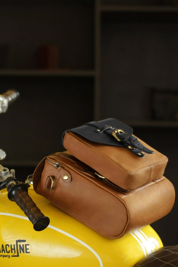 Trip Machine Company Tank & Tail Tan Leather Motorcycle Bag - Moto Est. 6
