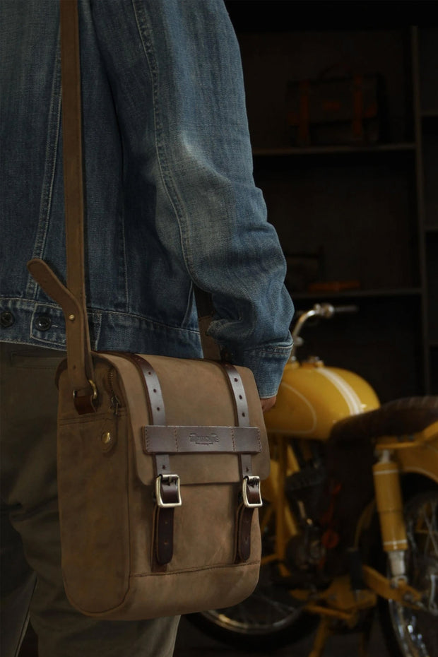 Trip Machine Company Tank & Tail Tobacco Leather Motorcycle Bag - Moto Est. 4
