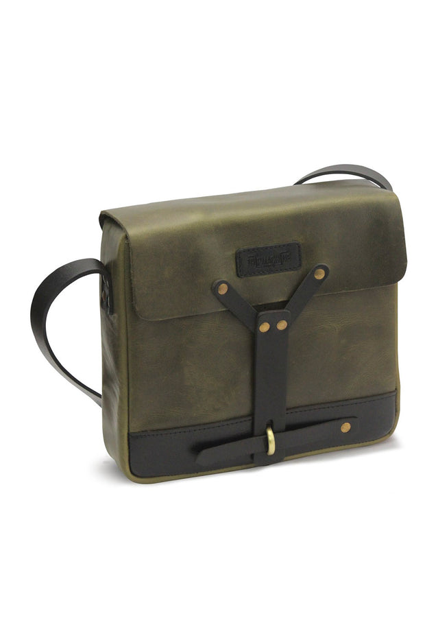 Trip Machine  Motorcycle Messenger Bag Army Green Leather