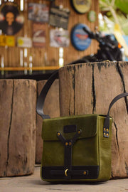 Trip Machine  Motorcycle Messenger Bag Army Green Leather online Australia