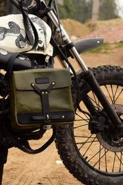 Trip Machine  Motorcycle Messenger Bag Army Green Leather moto e st