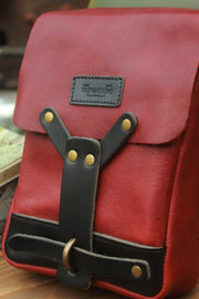 trip machine cherry red leather thigh bag - hand made