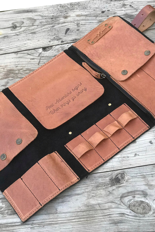 hand made Trip Machine leather tool roll for your motorcycle