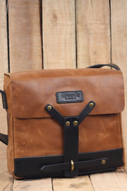 hand made trip machine tan leather messenger bag online at moto est Australia
