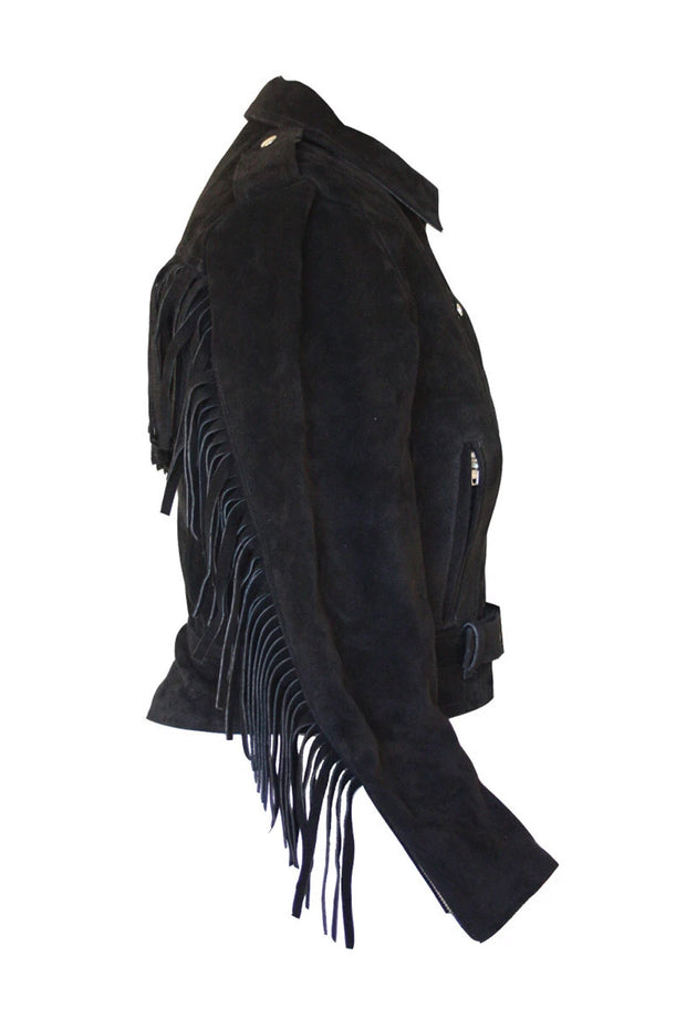 Buy the rdo suede fringed jacket black online at Moto Est. Australia 4