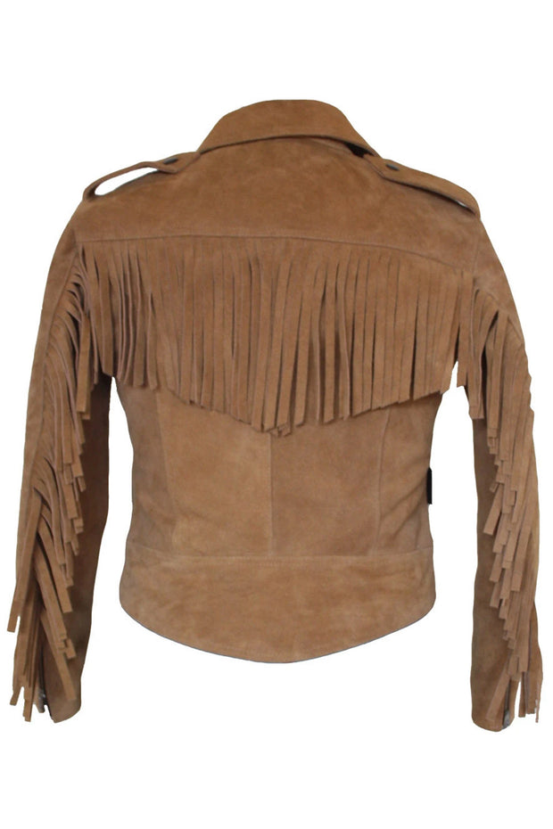 Walden Miller RDO Women's Suede Fringed Motorcycle Jacket in Tan online at Moto Est. Australia