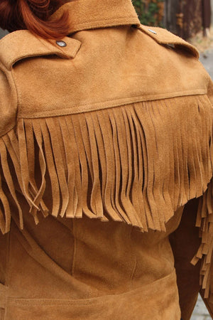 RDO Women's Suede Fringed Motorcycle Jacket | Tan