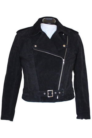 RDO Women's Suede Motorcycle Jacket | Black