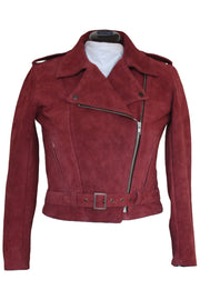 Walden Miller RDO Women's Suede Motorcycle Jacket in Burgundy online at Moto Est. Australia