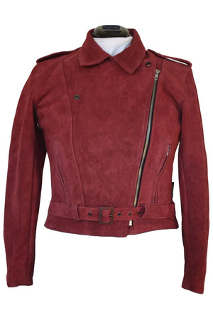 RDO Women's Suede Motorcycle Jacket | Burgundy