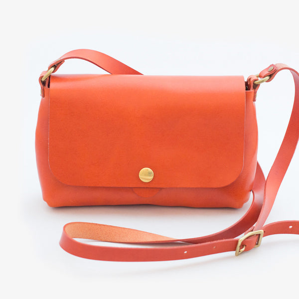 Leather Shoulder Bag - Red Tea