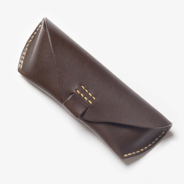 Leather Glasses Case - Dark Brown