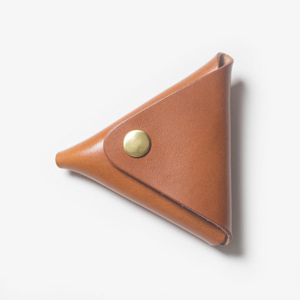 Triangle Leather Coin Case - Brown