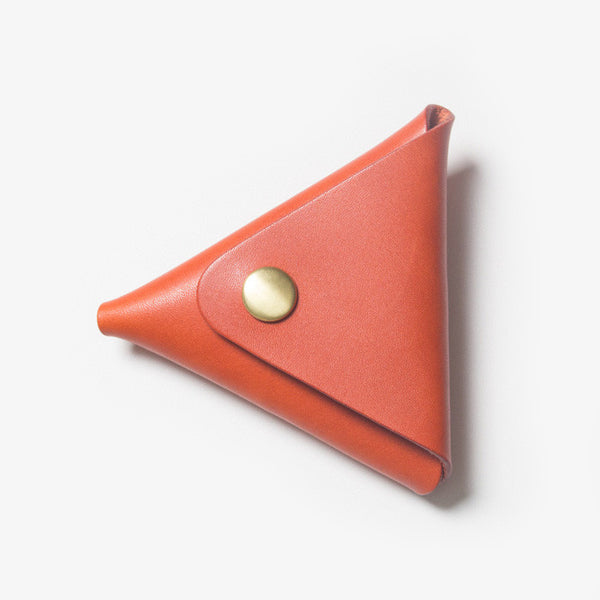 Triangle Leather Coin Case - Red Tea