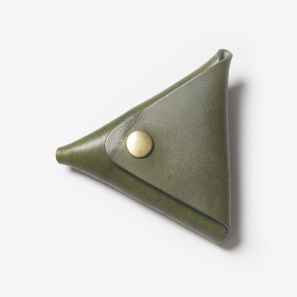 Triangle Leather Coin Case - Green
