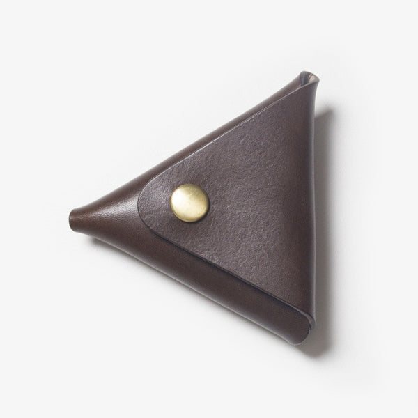 Triangle Leather Coin Case - Dark Brown