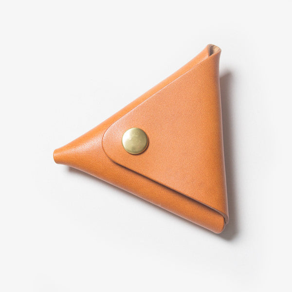 Triangle Leather Coin Case - Light Brown