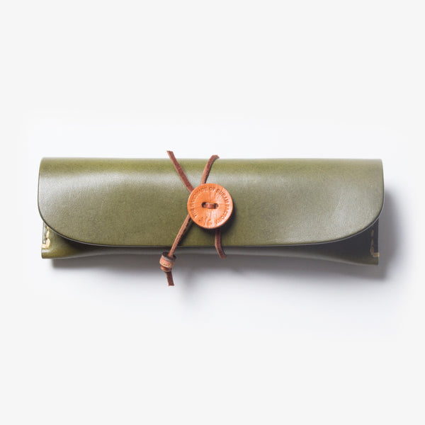 Leather Pen Case - Green