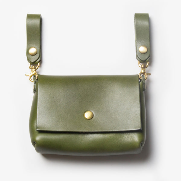 Leather Belt Pouch - Green