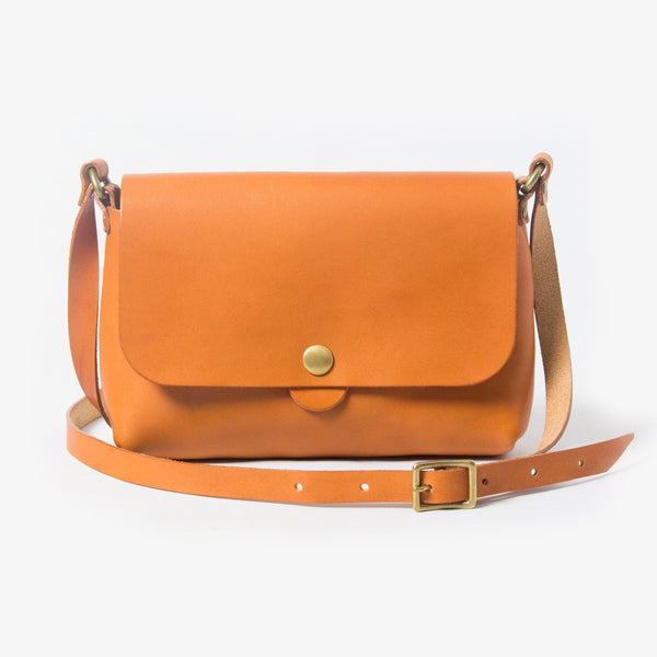 Leather Shoulder Bag - Light Brown