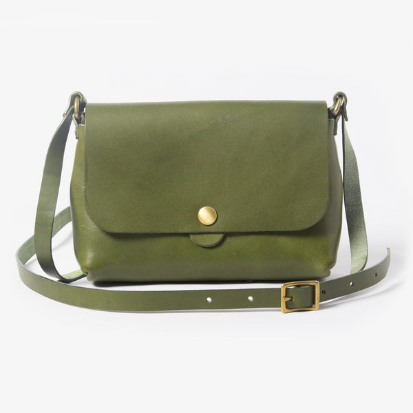Leather Shoulder Bag - Green