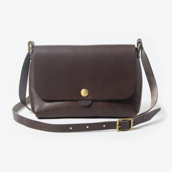 Leather Shoulder Bag - Dark Brown