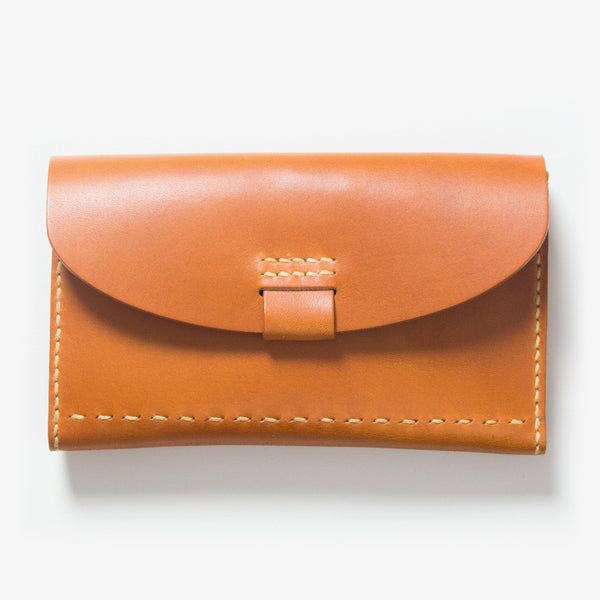 Leather Bankbook Wallet Light Brown