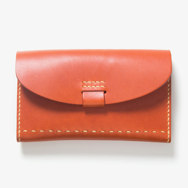 Leather Bankbook Wallet Red Tea
