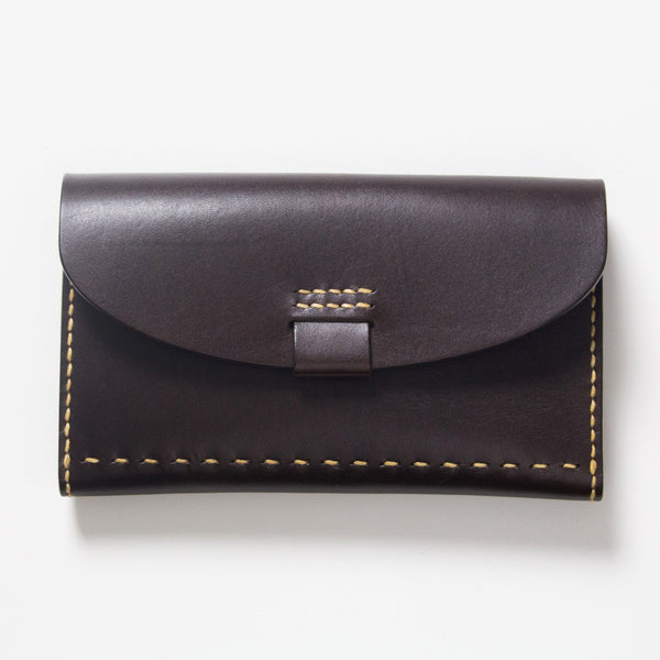 Leather Bankbook Wallet Dark Brown