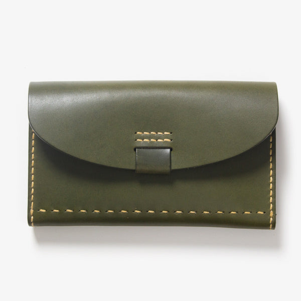 Leather Bankbook Wallet Green