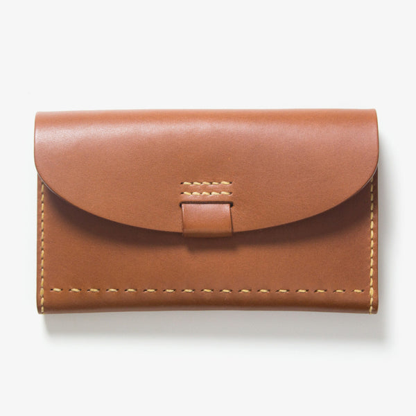 Leather Bankbook Wallet Brown