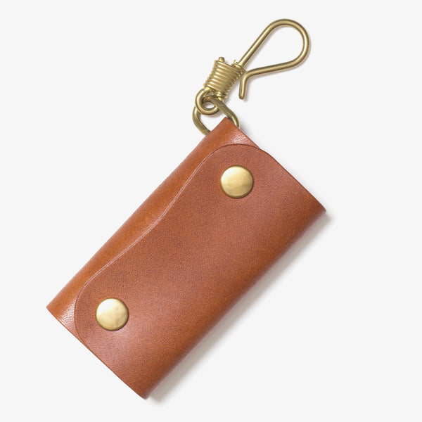 Leather Hook Key Case Brown