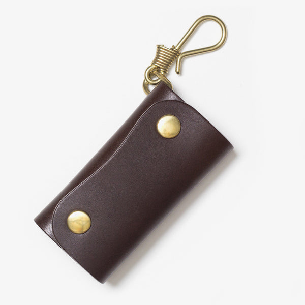 Leather Hook Key Case Dark Brown