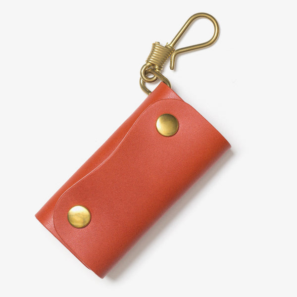 Leather Hook Key Case Red Tea
