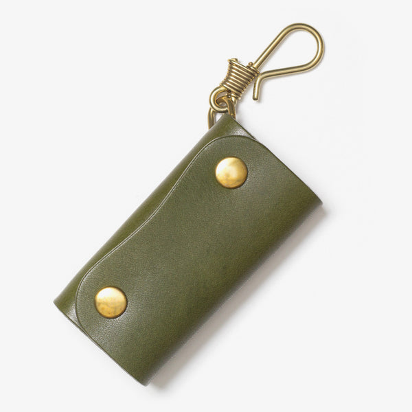 Leather Hook Key Case Green