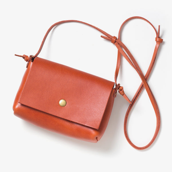 Leather Shoulder Pouch Red Tea