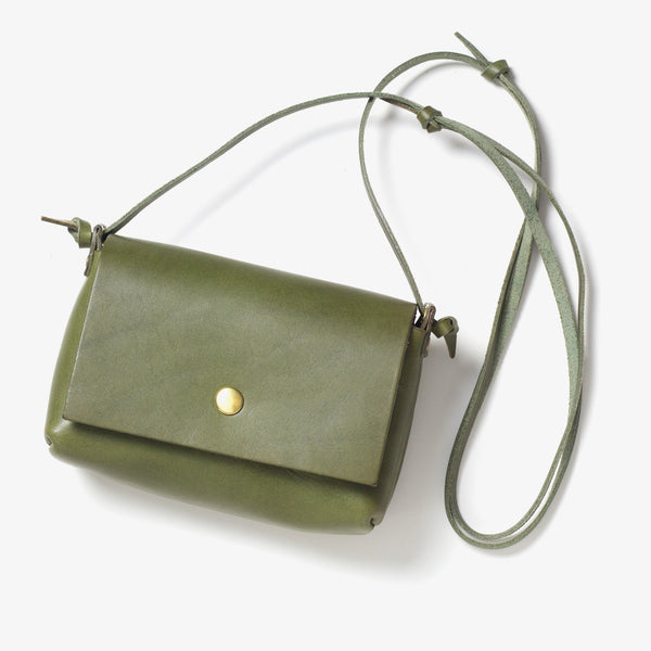 Leather Shoulder Pouch Green
