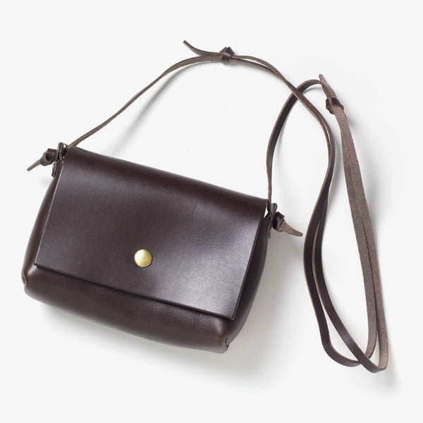 Leather Shoulder Pouch Dark Brown
