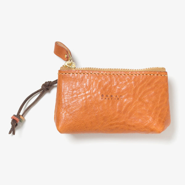 Leather Zipper Key Case Light Brown