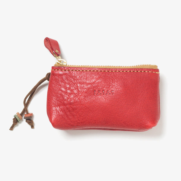 Leather Zipper Key Case Red