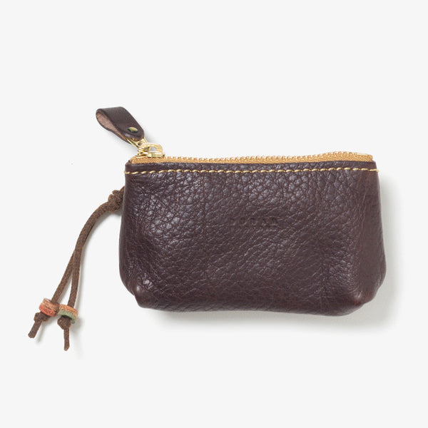 Leather Zipper Key Case Dark Brown