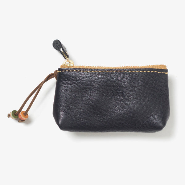 Leather Zipper Key Case Black