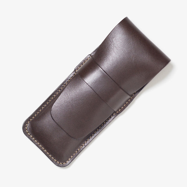 Lather Vertical Pen Case Dark Brown