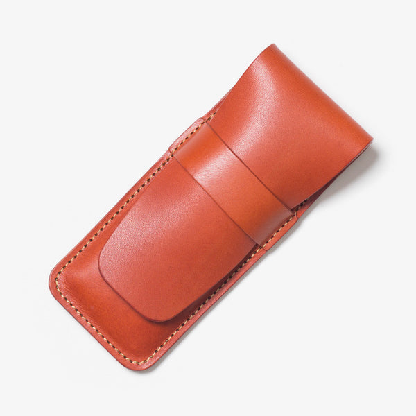 Lather Vertical Pen Case Red Tea